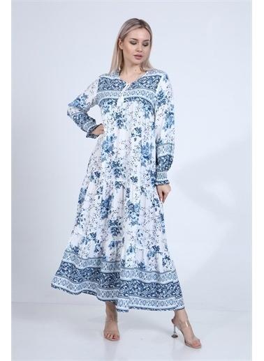Rodi Jeans Kadın Çiçekli Katlı Elbise DS21YB111947 Mavi